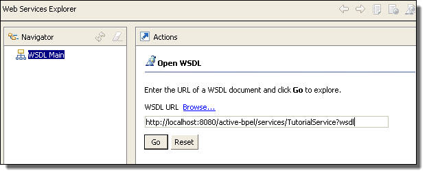 WSDL URL of Web Services Explorer