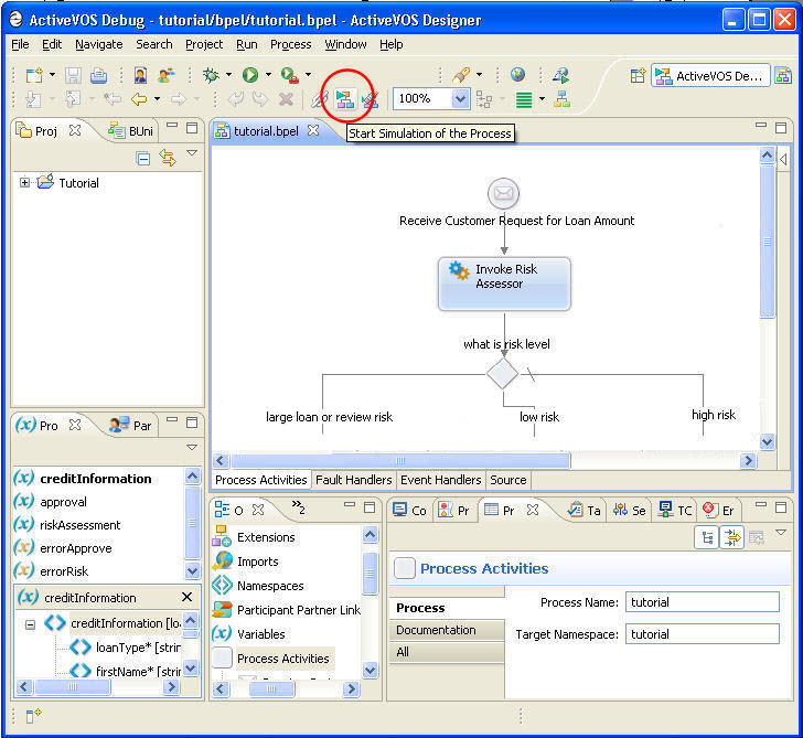 Debug perspective with Start Simulation toolbar icon circled