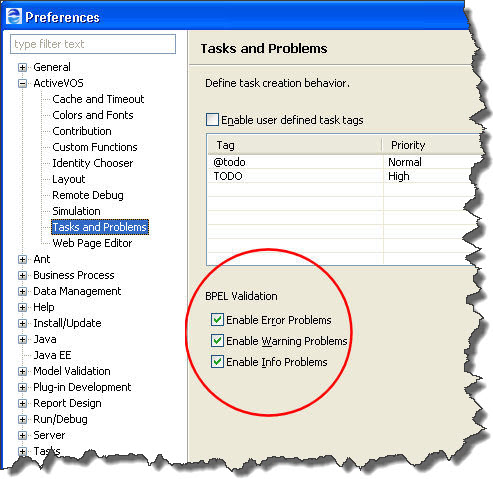 BPEL validation tasks circled