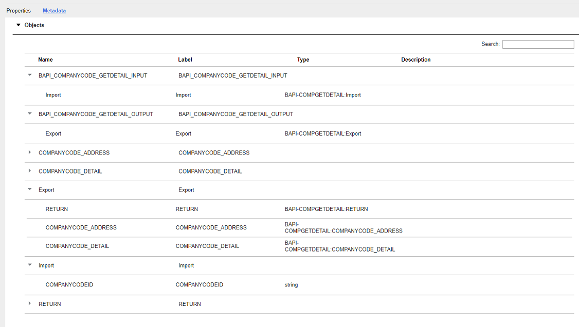 Understanding SAP BAPI Connection Metadata