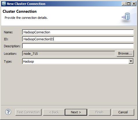 Creating a Hadoop Connection