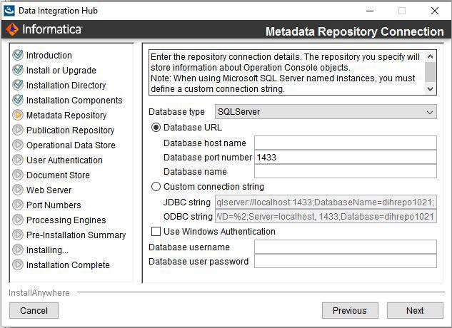 Step 3  Configure Data Integration Hub Repositories