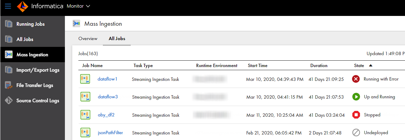 Shows the All Jobs tab for streaming ingestion jobs.