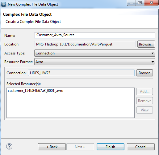 HDFS Avro Read Mapping Example