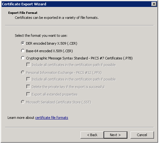 The Certificate Export Wizard contains the available file export options.