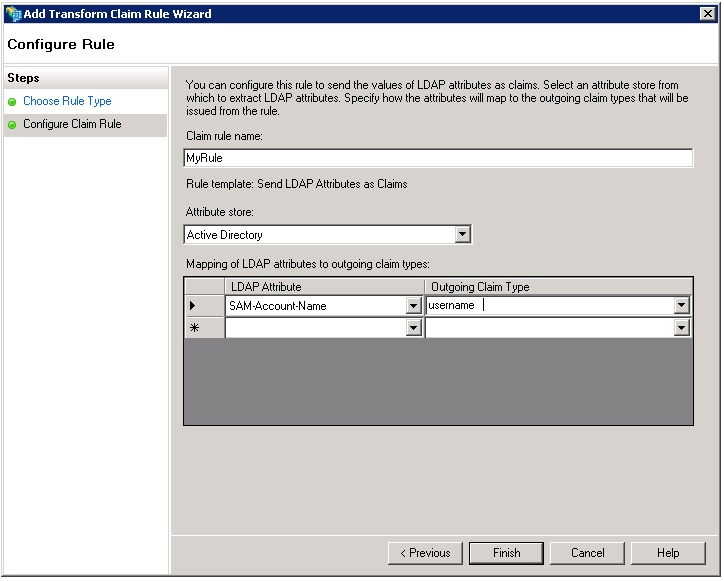 The Configure Rule Template pane of the Add Transform Claim Rule Wizard is used to specify how LDAP attributes map to outgoing claim types issued from the rule.
