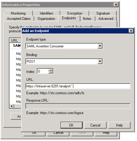 The Add an Endpoint dialog box is used to specify the endpoint URLs for Informatica web applications that use SAML-based single sign-on.