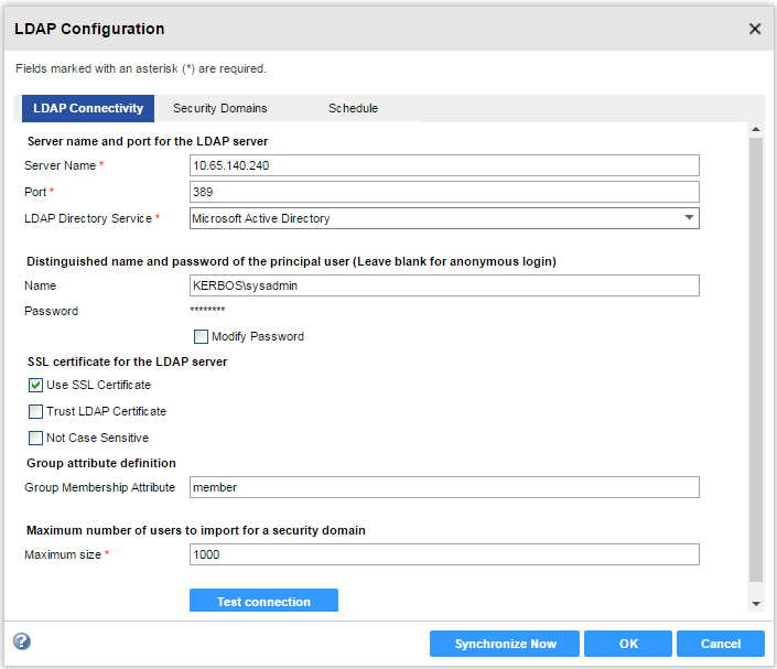 The LDAP Connectivity panel of the LDAP Configuration Dialog box contains the LDAP server connection properties.