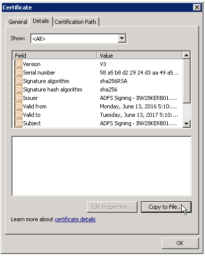 The Details tab in the Certificate dialog contains details for the selected certificate.