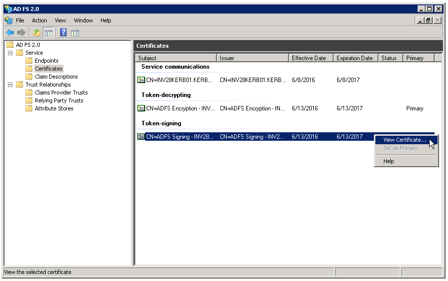 The Certificates pane in the AD FS Management Console contains available certificates.