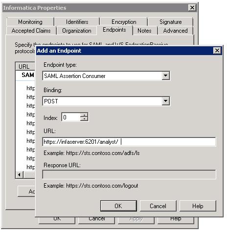 Step 5  Add Informatica Web Application URLs to AD FS