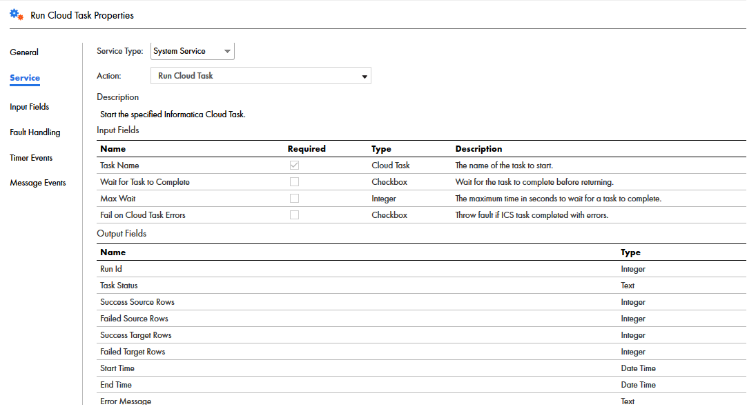 The image shows the input fields that you can configure for a Run Cloud Task Service step.