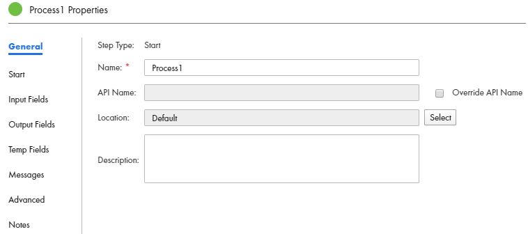 You can view the General tab in the process properties panel.