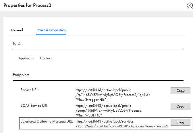 This image shows the Properties window of a process with the Service, SOAP, and Salesforce OBM URLs.