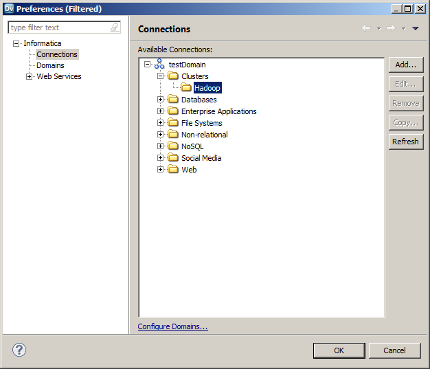 The image shows the Preferences screen. Connections is selected under Informatica on the left hand side. The list of available connections appears on the right-hand side. Hadoop is selected under Clusters.