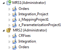 MRS1 is a versioned Model repository that contains four projects. The icon of MRS1 is decorated with a green check mark to show it is a versioned repository. The Model repository MRS2 is not versioned. Its icon is decorated with a yellow gear icon.