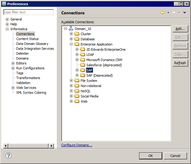 The Connections dialog box shows the deprecated SAP connection category and the new SAP connection category that you must use.