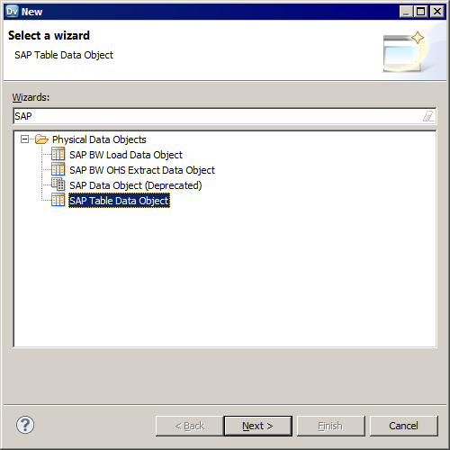 The New Data Object dialog box shows the deprecated SAP data object and the new SAP Table data object that you must use.