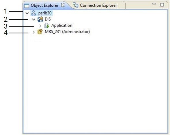 The image shows the Object Explorer view in the Developer tool. The view shows a domain, a Model repository in the domain, a Data Integration Service in the domain, and a run-time application on the Data Integration Service.
