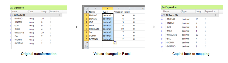 Example: Editing a Transformation in Excel