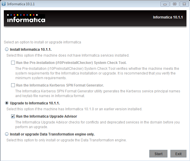 This image describes the upgrade information to Informatica 10.1.1