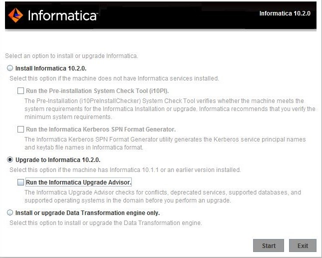 This image describes the Informatica upgrade versions available.