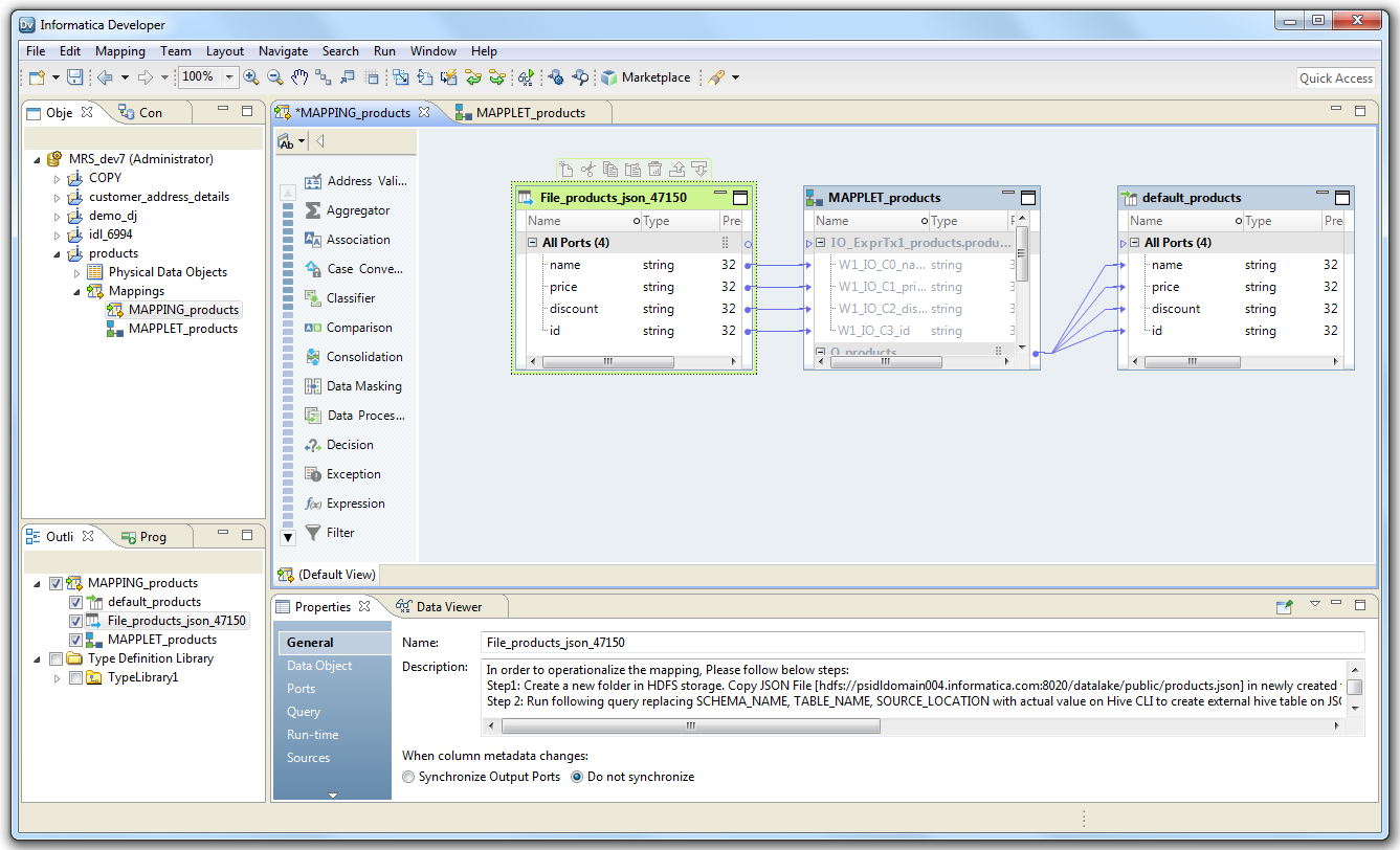 Operationalizing Mappings Generated for Avro, JSON, and