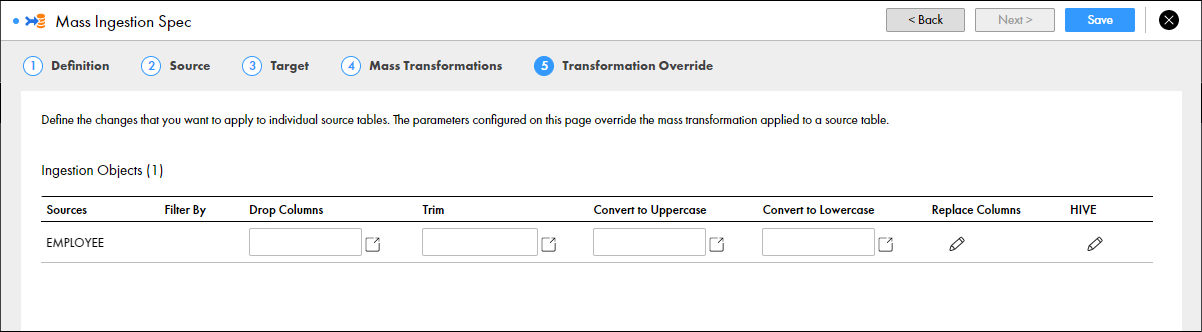 Transformation Override for Hive Targets