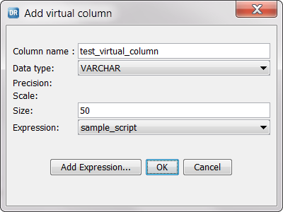 Adding a Virtual Column with an SQL or Tcl Expression