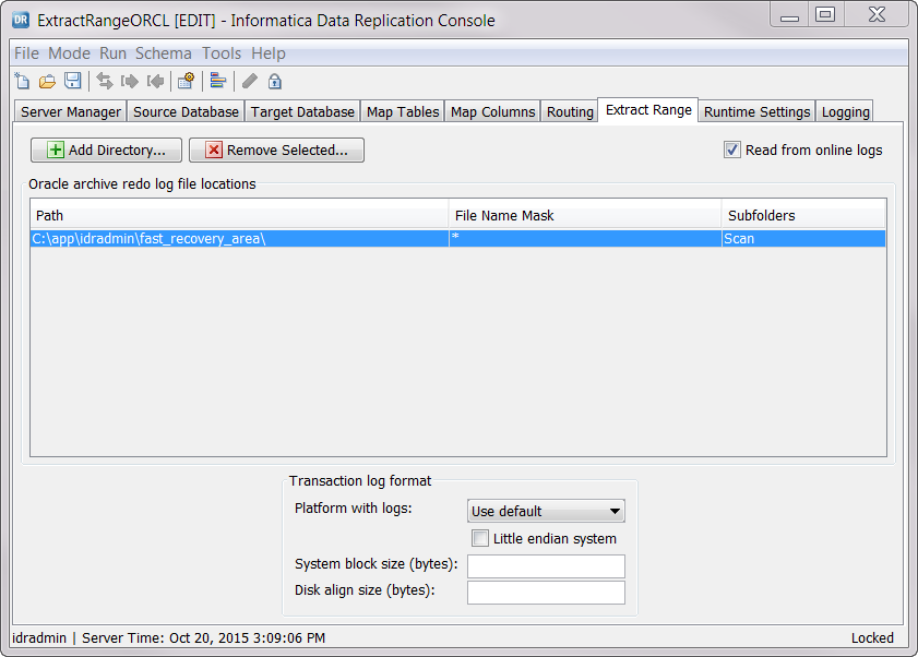 Specifying the Database Logs from Which to Extract Data
