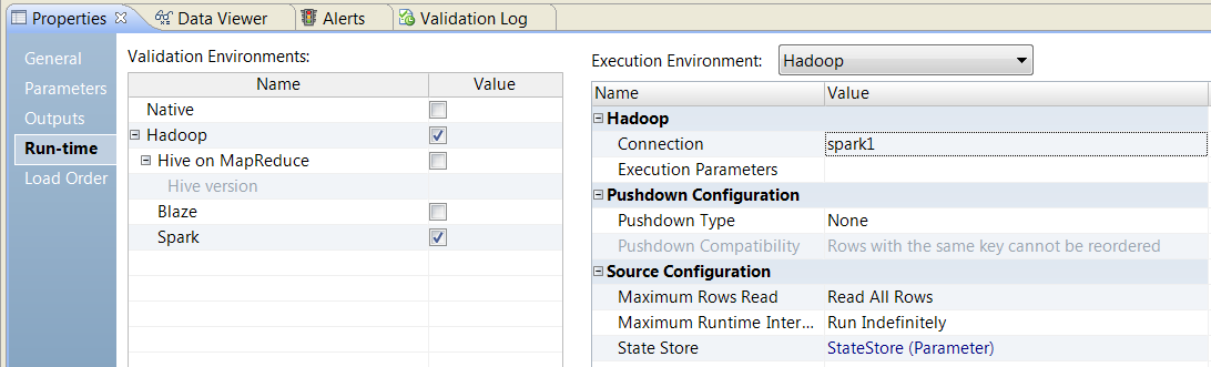 The image shows the mapping Run-time tab. Under Validation Environment, Hadoop is selected. The Spark engine is selected. Under Execution Environment, Hadoop is selected. The connection is spark1.