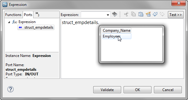 The Expression Editor shows a list of elements in the struct.