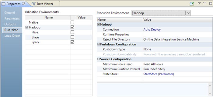 The Run-time tab contains a Validation Environments panel and an Execution Environments panel.