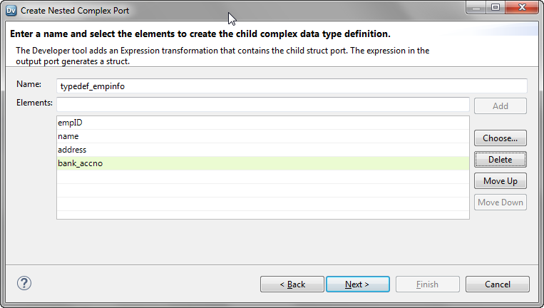 The image shows the changed name of the child complex data type definition and the list of elements to be added.