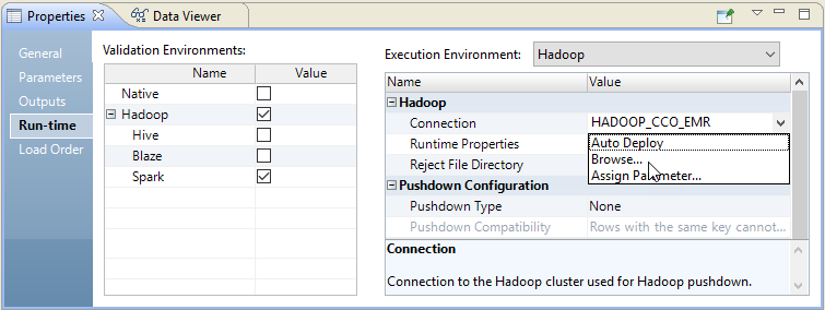 The mapping Run-time properties display the Hadoop connection in the Execution Environment section. Click the edit arrow on the right of the property value pane to select Browse.