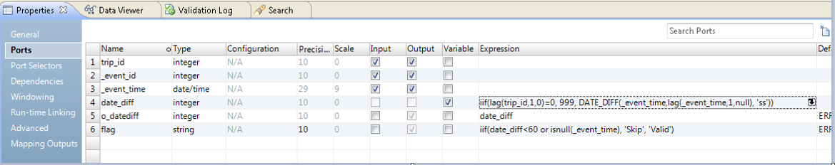 The LAG function, the DATE_DIFF function, and the IIF flag are defined on the Ports tab in the Expression transformation.