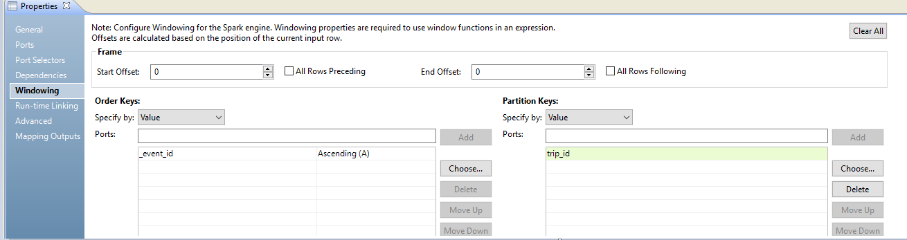 "The Windowing tab shows three configuration sections. The frame section has a start offset and end offset selection box, with ""All Rows Preceding"" and ""All Rows Following"" checkboxes. You can specify the order keys and partition keys by value or parameter, and choose ports from the transformation. You can choose Ascending or Descending for the order key."
