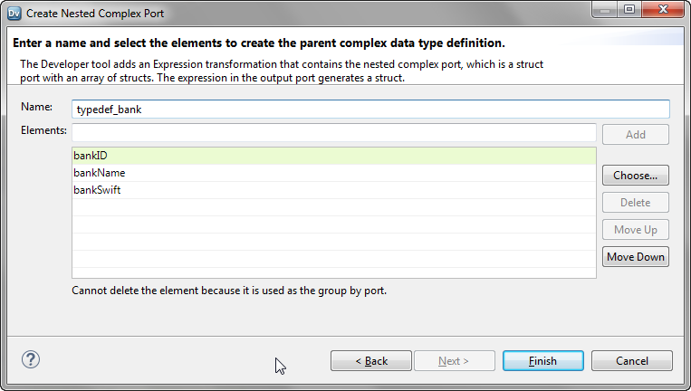 The image shows the changed name of the parent complex data type definition and the list of elements to be added.