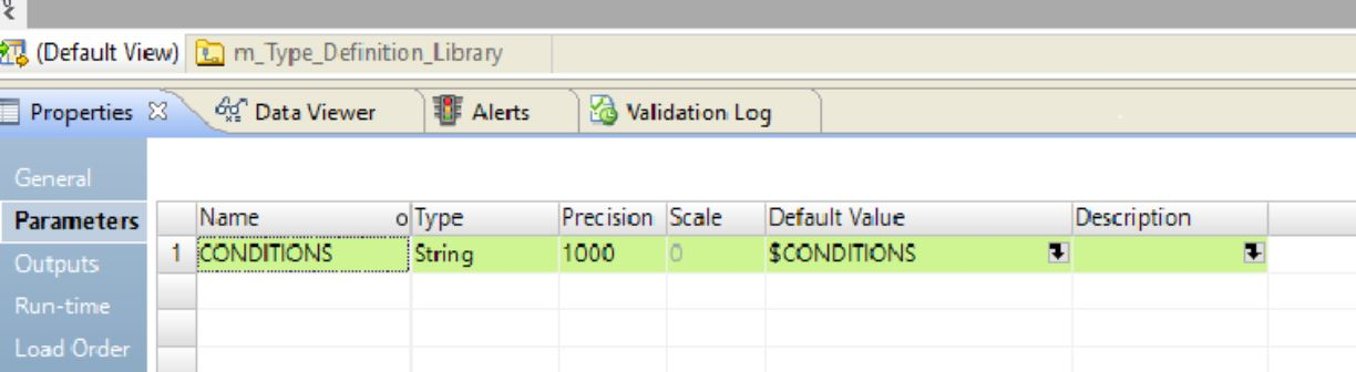 The image shows a mapping parameter with the name set to CONDITIONS and value set to $CONDITIONS.