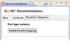 The image shows the Recommendations view and the Disabled Categories tab. A single category appears, entitled Port Type Variance.