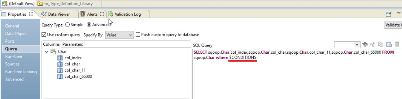 The image shows a dummy custom query that contains $CONDITIONS in the WHERE clause.