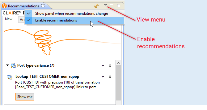 The image shows the View menu with two items, Show panel when recommendations change and Enable recommendations.