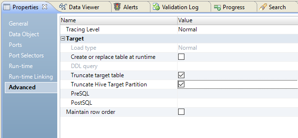 The image shows the Advanced Properties tab in the that view. The option to truncate the Hive target partition is selected.