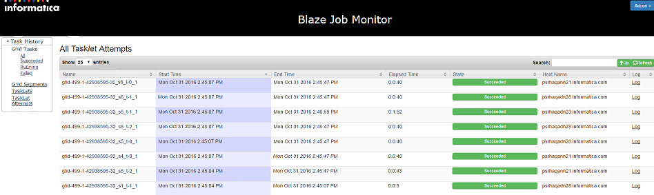 The Blaze Job Monitor displays several tasklet attempts along with their start time, end time, elapsed time, state, and host name. The Log button is also available on the right side of the page for each tasklet attempt.