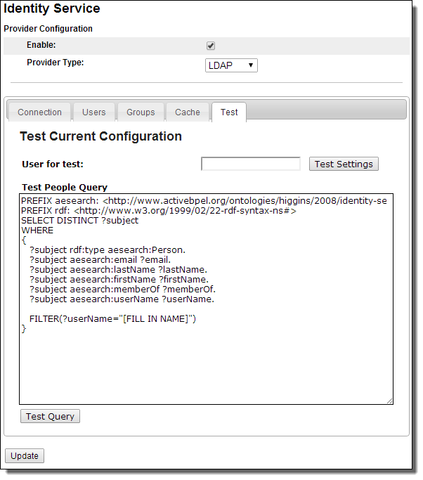 Testing LDAP and JDBC Configurations