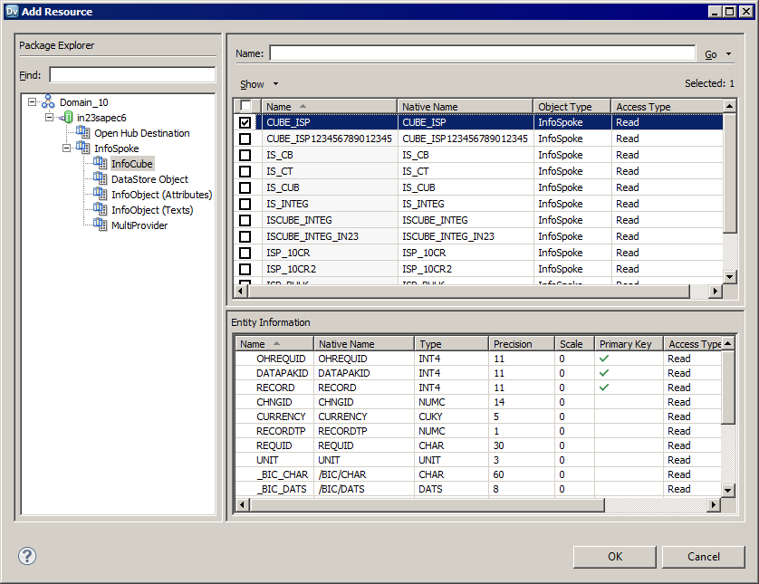 Importing an SAP BW OHS Extract Data Object