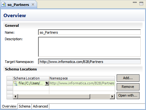 The Schema Locations list is in the bottom portion of the schema object Overview view.