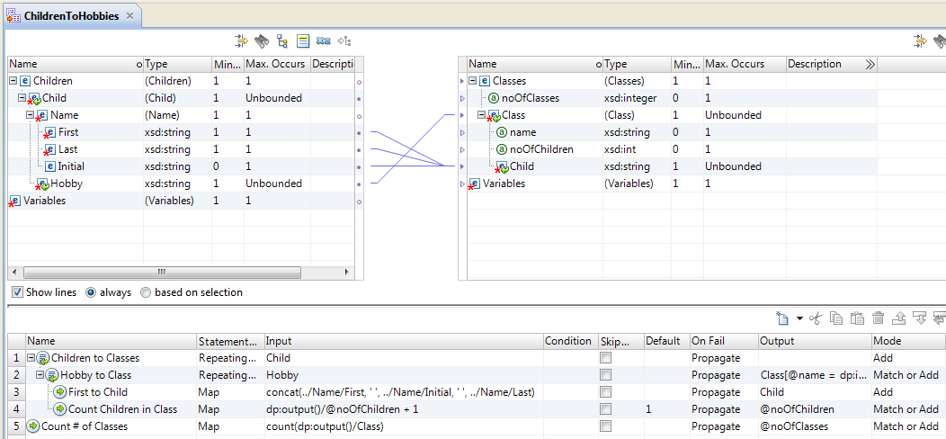 The XMap editor grid contains mapping statements with XPath expressions in the Input and Output fields. In the Input field, an XPath expression provides the context for the mapping statement. In an Output field, the XPath expression defines the output element.