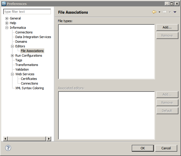 The file types appear in the top portion of the File Associations page. The associated editors appear in the bottom portion of the page.
