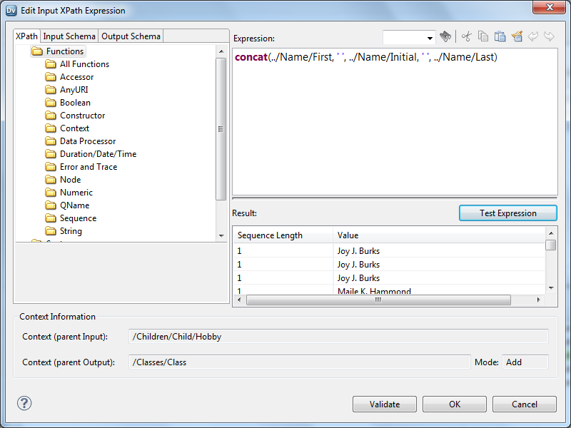 Use the XPath Expression Editor to create expressions for mapping statements. You can create XPath statements for the Input, Condition, or Output fields. The XPath expression defines the elements to which the mapping statement applies.